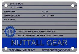 Nuttall Gear Name Plate Front