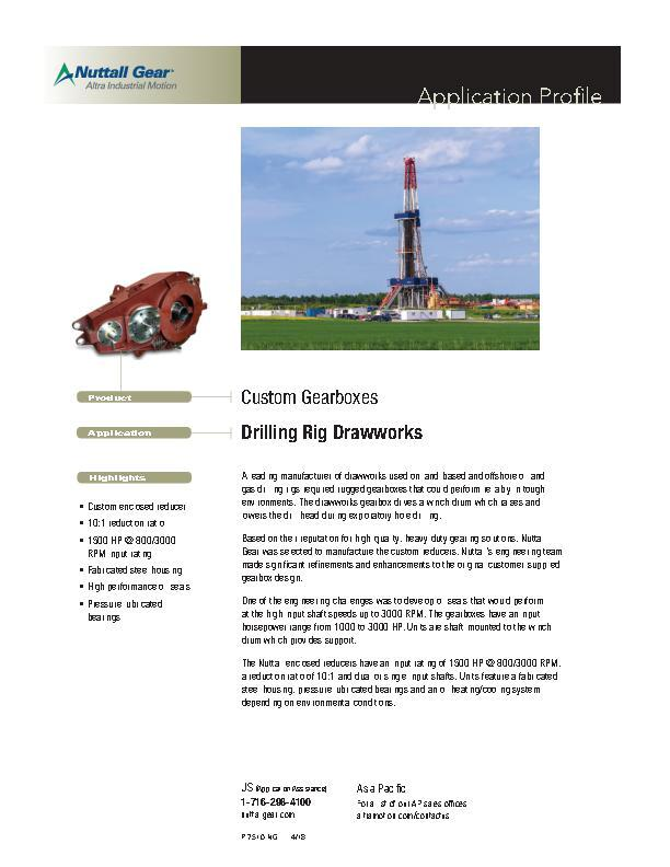 Custom Gearboxes for Drilling Rig Drawworks
